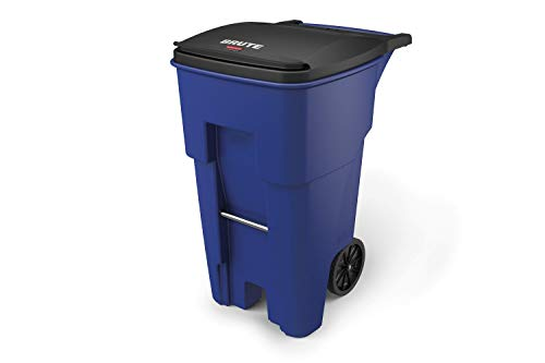 Rubbermaid Commercial Products BRUTE Rollout Waste/Utility Container, 65-gallon, Blue (FG9W2173BLUE)
