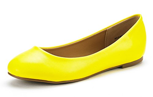 DREAM PAIRS Women's Sole Simple Yellow Pu Ballerina Walking Flats Shoes - 7 M US]()