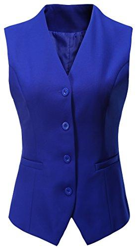 Vocni Women's Fully Lined 4 Button V-Neck Economy Dressy Suit Vest Waistcoat,Light Blue, US S/Asia XL