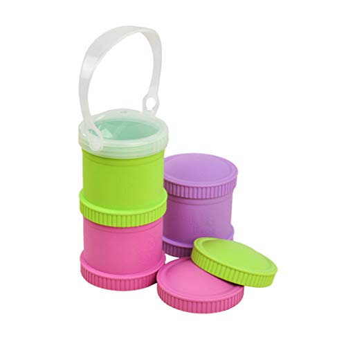 (Re-Play Made in The USA 3pk Stackable Snack Cups for Baby and Toddler - Bright Pink, Green, Purple (Butterfly))