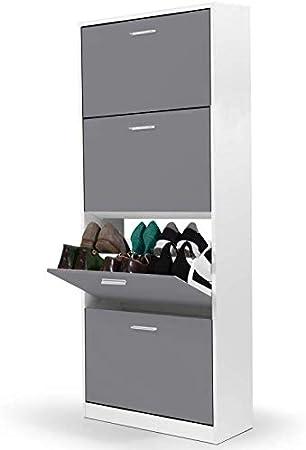 Meuble a chaussures blanc 4 portes gris fonce
