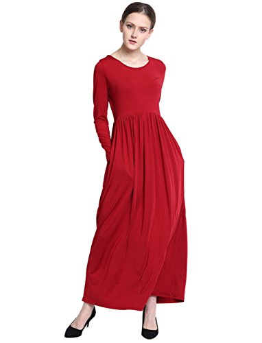 Maxi Transfer (KOERIM Women's Round Neck Stretch Long Sleeve Loose Plain Maxi Dresses Fashion Long Dresses Casual Dress With Pockets)