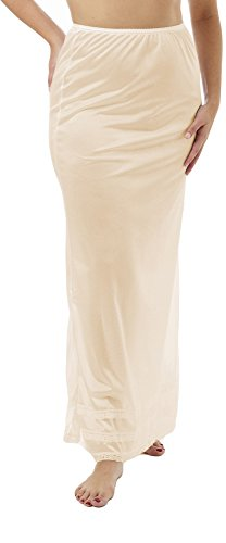 Underworks Nylon Maxi Length Half Slips with Snip a Length Beige Small - Long Half Slip