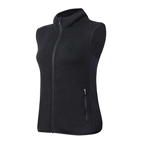 ANIVIVO Fleece Vest Women Sleeveless Sweater Vest Gilet Full Zip, Stand Collar Outdoor Winter Warm Vest Women Fleece Gilet (Black S)