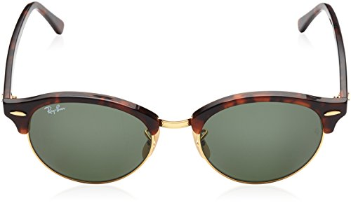 Ray-Ban Unisex Clubround Classic RB4246 990 Non-Polarized Sunglasses, Tortoise/Green Classic, 51 mm