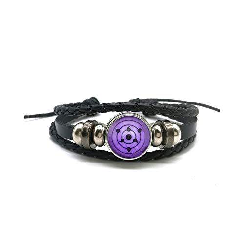 (HHELI Sharingan Eye Bracelet Anime Naruto Braided Leather Bracelet Naruto Sasuke Uchiha Clan Rinnegan Taichi Kakashi Cosplay Jewelry as show6 Unique)
