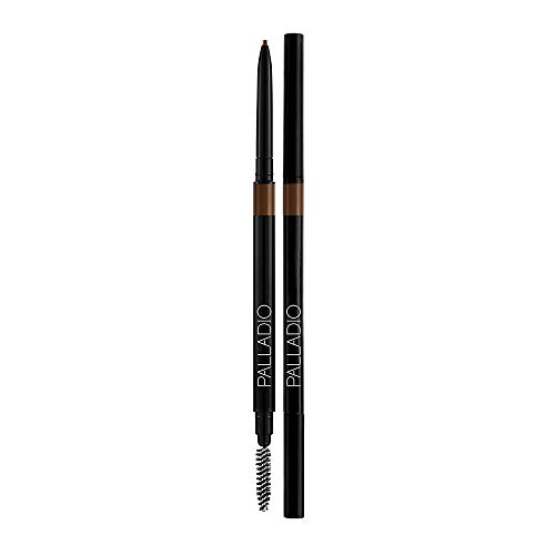 Palladio Beauty Brow Definer Pencil, Medium Brown, Ultra Precise Twist-Up Eye Brow Pencil with Long-Staying Power, Spooley Brush Blends Color for Natural Finish, No Eyebrow Pencil Sharpener Required
