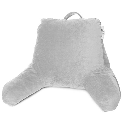 Nestl Reading Pillow, Medium Bed Rest Pillow with Arms for Kids Teens & Adults - Premium Shredded Memory Foam TV Pillow - Silver