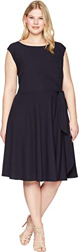 Tahari ASL Women's Plus Size Crepe Side Tie Fit Flare Dress Navy 22 W