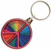 - NS San Francisco Peace Sign Metal Rainbow Key Chain