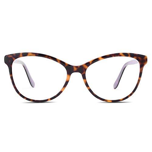 LUOMON Fashion Stylish Eyeglasses for women Two-tone Acetate Frame Glasses Clear Lens ()