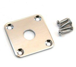 Paul Guitar Les Gibson Custom (Guitar curved Jack plate chrome + screws fits Gibson Les Paul)