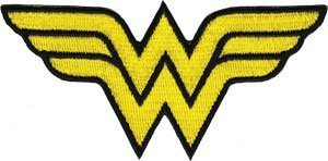 Wonder Woman DC Comics Iron On Patch - WW Yellow Letter Name Logo Applique ()