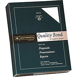 "20 Lb Bond Paper - Southworth Quality Bond Paper, 8.5"" x 11"", 20 lb/75 gsm, Wove Finish, White, 500 Sheets (31-620-10)"