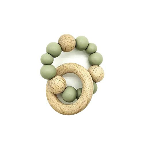 Snuggle Baby Silicone Wooden Ring Beaded Baby Teether