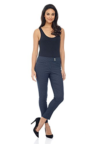 Rekucci Women's Ease in to Comfort Slim Ankle Pant with Snaps (8,Navy/White Dotted Lines)