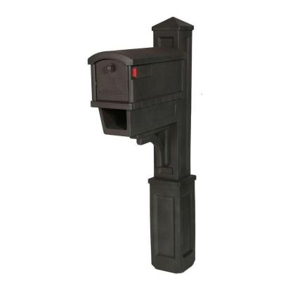 Gibraltar Mailboxes Heritage All-in-One Plastic Mailbox and Post Mount Combo with Newspaper Holder in Venetian Bronze