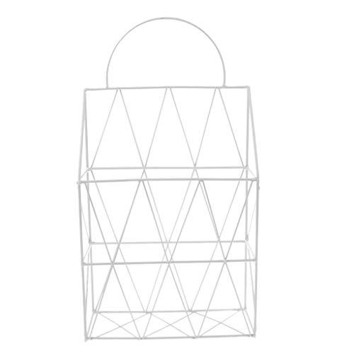 Fityle Metal Multifunction Iron Magazine Wall Rack Storage Basket Wall Hanging Basket Magazine Shopping Basket - White, as described -