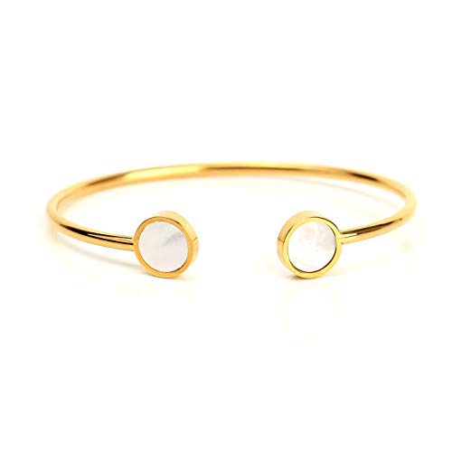 United Elegance Stylish Designer Bangle Bracelets in Gold Tone with Contemporary Circular Design and Faux Mother of Pearl Inlay (160098)