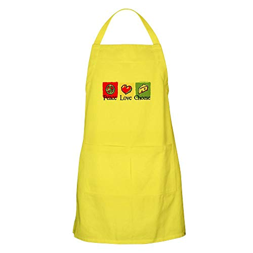 CafePress Peace, Love, Cheese Apron Kitchen Apron with Pockets, Grilling Apron, Baking Apron