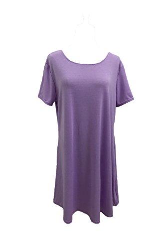 Damen Sind Kurze Ärmel Locker Wieder Mini Partei Rock Kleid Purple ...