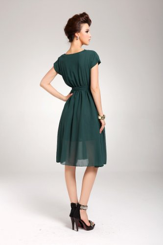 Plaer Maniche Dark Vestito Green Corte Donna xUz6w