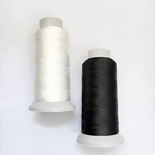 T70 #69 Bonded Nylon Sewing Thread – 1500 Yard Spool -(White+Black)2PCS