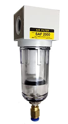 "PneumaticPlus SAF2000M-N02BD Compressed Air Particulate Filter, 1/4"" Pipe Size, NPT-Auto Drain, Poly Bowl, 10 m"