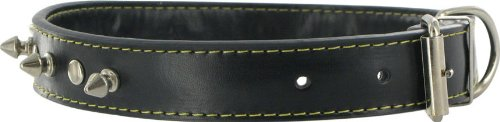 Kakadu Pet Spike Leather Studded Dog Collar, 1 1/4″ x 23 1/2″, Black, My Pet Supplies