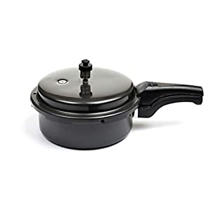 Pioneers JPP Non Induction Base Outer Lid Hard Anodised Junior Pressure Cooker & Pan, 3L, Black