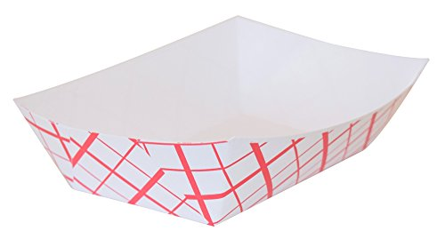 - 2 Pound Paper Red / White Checked Food Tray (250 Count)