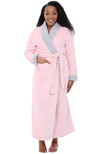 Alexander Del Rossa Women's Warm Fleece Robe, Long Plush Bathrobe, 1X 2X Pink Rose Quartz with Sherpa Contrast (A0274RSQ2X) 2x Large Polyester Fleece