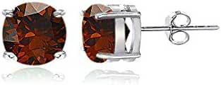 Sterling Silver Garnet Round Stud Earrings, All Sizes
