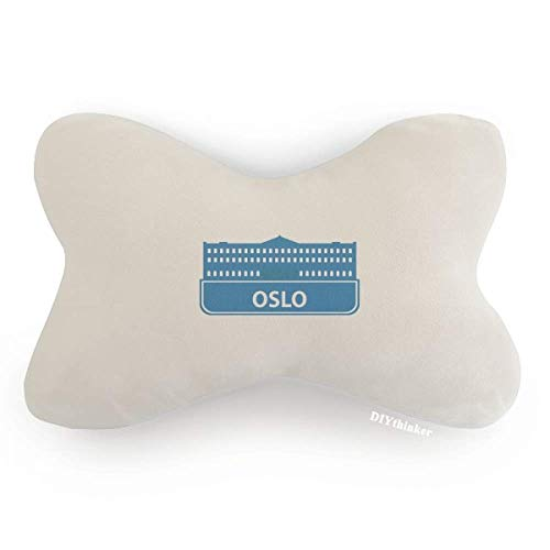 DIYthinker Oslo Norway Blue Landmark Pattern Car Neck Pillow Headrest Support Cushion ()