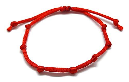 Mystic Jewels By Dalia Red String Kabbalah Bracelet - 7 Knots Protection, Evil Eye Bracelet ()