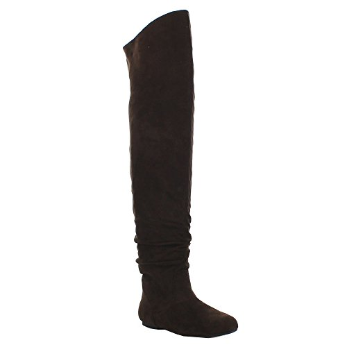 Da Viccino TOP-01-HI Women's Slouch Size Zipper Flat Tigh High Boots, Color:Brown, - Boots Flat Knee Over The