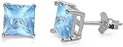 Solitaire Stud Post Earring Princess Cut Simulated Light Blue Aquamarine 925 Sterling Silver