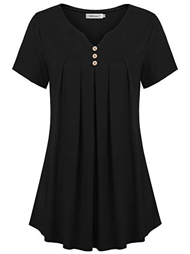 Helloacc Flowy Tops for Women,Summer Plus Size Solid Color Relaxed Fit Tunic with Pleats Leggings Button Up Henley Split V Neck Short Sleeve Comfy Peasant Basic Tees for Ladies Embellish ()