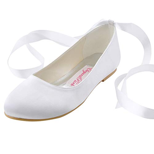 ElegantPark EP11105 Women Comfort Flats Closed Toe Ribbon Tie Satin Wedding Bridal Shoes White US 8