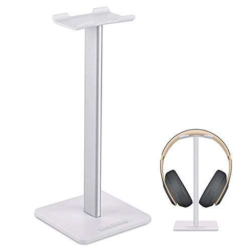 Headphone Stand Headset Holder- Gaming Headset Holder with Aluminum Supporting Bar Flexible Headrest Anti-Slip Earphone Stand for All Headphones, White