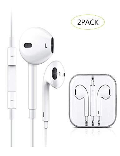 2 Pack Earbuds/Earphones/Headphones, Wired Earbuds with Remote & Mic Compatible iPhone 6s/plus/6/5s/5c/iPad/Samsung/MP3/Tablets