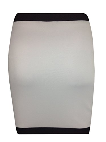 Monocromo Contraste banda hendidura frontal elástico Bodycon Mini falda Monocromo