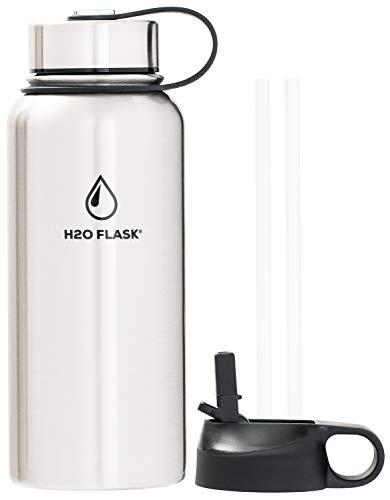 H2O Flask Insulated Water Bottle 32oz - Leak-Proof with 2 Lids & 2 Straws, Double Wall Vacuum Insulated Stainless Steel for 12 Hour Hot & 24 Hour Cold Drinks - H2O Hydro Powered - Silver 32oz