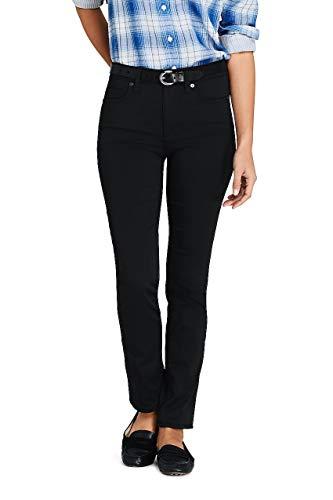 Lands' End Women's Mid Rise Straight Leg Black Jeans, 14 32, Deep Black (End Jeans Tall Lands)
