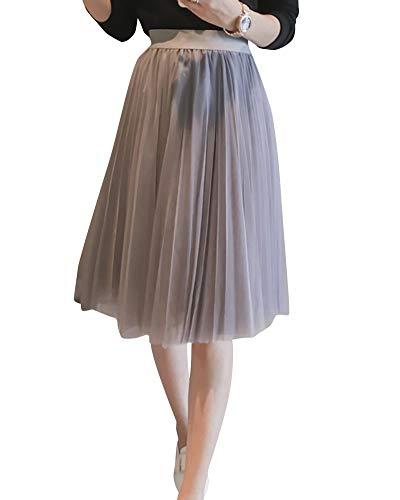 Yonglan Jupe Midi Femme Taille lastique Taille Haute Lache La Mode Jupe Filet Jupe Plisse Gris