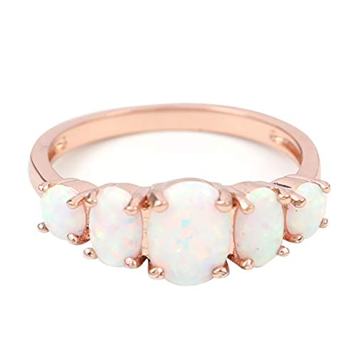 FC JORY Rose & White Gold Plated Oval Created Opal Band Crystal Ring (Rose Gold, 8)