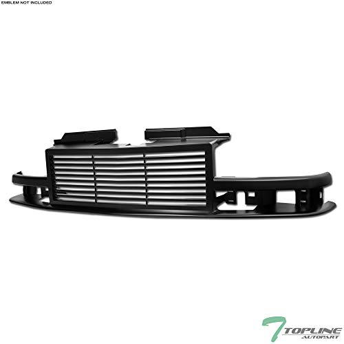 Topline Autopart Matte Black Horizontal Front Hood Bumper Grill Grille ABS For 98-04 Chevy S10 Blazer / S10 Pickup ()