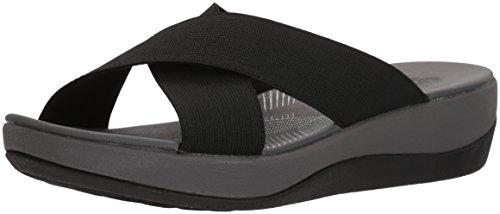 (CLARKS Women's Arla Elin Sandal, Black Solid Textile, 10 Medium US)