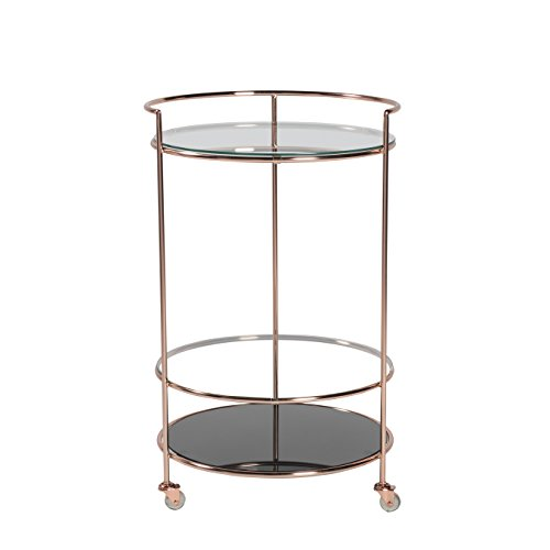 Euro Style 21001BC Roberta-HR Rolling Cart, Black Glass/Brushed Copper
