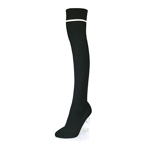 Boots Tall Knee Sweater Toe Pointy Nightwear Heels High Heel Through Black for Unique The a Knit Soft DailyShoes See Knitted Thigh Chunky Material Look Over Sweater Ideal Sweater gpYUqnAw0